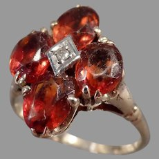 Ladies Vintage Cluster Ring - Citrene with Small Diamond 10k Gold Estate Jewelry