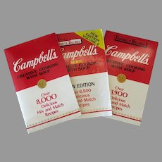 Three Vintage Campbell's Creative Cooking - Advertising Recipe Booklets – 1985 1986 1987