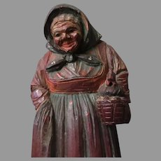 Carved Old Woman with a Chicken in a Basket – Folk Art Wood Carving