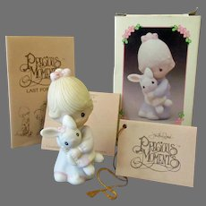 Vintage Enesco Precious Moments Girl with Bunny - Jesus Loves Me with Original Box