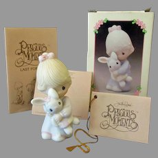 Vintage Enesco Precious Moments Girl with Bunny - Jesus Loves Me with Original Box