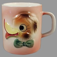 Child's Vintage Milk Mug - 1960's Funny Duck Face Cup - Japan