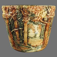 Vintage Weller Art Pottery - Small Forest Line Jardiniere - 1915-1920