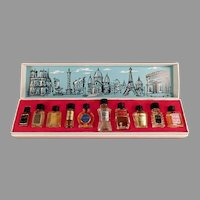 Vintage Les Grands Parfums de France - Ten Miniature Perfume Bottles in Original Box