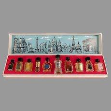 Vintage Les Grands Parfums de France - Ten Miniature Perfume Bottles in Original Box