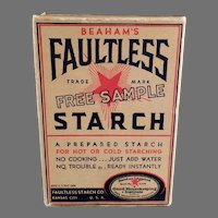 Vintage Faultless Starch Sample Box - Old Unopened Kitchen/Laundry Room Advertising