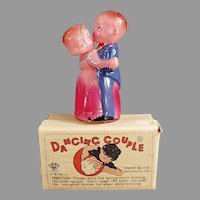 Vintage Celluloid Wind Up Toy - Occupied Japan Dancing Couple with Box