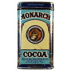 Vintage Sample Cocoa Tin - 3 inch Tall Monarch Breakfast Cocoa with Nice Graphics