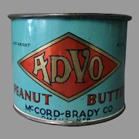 Unique, Early 1900's Vintage Advo Peanut Butter Tin Measuring Cup