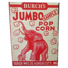 Vintage Sample Box - Burch's Best Popcorn with Jumbo the Elephant