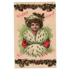 Vintage 1909 Christmas Postcard – Little Girl in Ermine