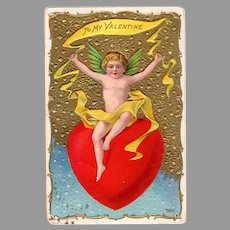 Vintage Valentine Postcard with Large Red Heart & Cupids and Roses - Early 1900's
