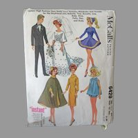 Vintage McCall's #6420 Pattern - Doll Clothes for Barbie, Ken, Other Teen Model Dolls