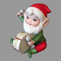 Vintage Christmas Decoration - Elf with Toy Drum – Made in Taiwan 1980's Ceramic