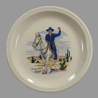 Vintage Hopalong Cassidy Dinner Plate - Hoppy Dressed in Blue Outfit
