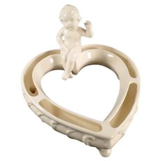 Vintage Heart Shaped Posey or Flower Ring with a Seated Cherub