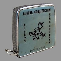Vintage 1/4 & 1/8 Scale Steel Tape Measure with Algene Construction Advertising