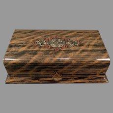 Vintage Celluloid Dresser Box – Masculine Faux Wood Grain Vanity Case