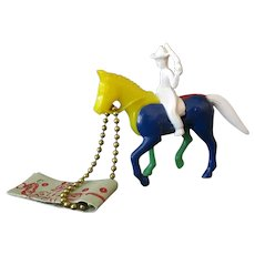Vintage Puzzle Key Chain – Colorful Plastic Cowboy on Horse with Instructions