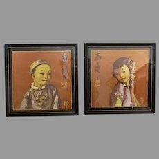 Vintage Wylog Fong Prints – Chinese Boy & Girl, Fon Hay & Hung Far