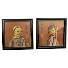 Vintage Wylog Fong Prints – Chinese Boy & Girl, Fon Hay & Hung Far