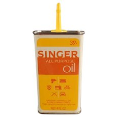 Unusual Vintage Singer All Purpose Sewing Machine Oil Tin - Yellow & Orange