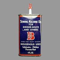Vintage Oil Tin-  Bega Sewing Machine Household Oil Advertising Tin