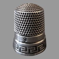 Vintage Sterling Silver Sewing Thimble – Greek Key Design, Size 9 - Simons Brothers