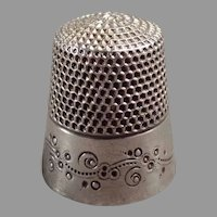 Vintage Thimble - Ketcham & McDougall Sterling Silver with Pretty Design