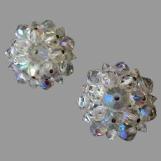 Vintage Costume Jewelry Clip On Earrings - Pretty Iridescent Crystal Bead Cluster Earrings