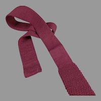 Vintage Private Club Skinny Tie - Wool Knit, Square Bottom Necktie