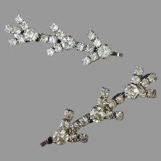 Two Vintage Rhinestone Hair Pins or Bridal Veil Bobby Pins