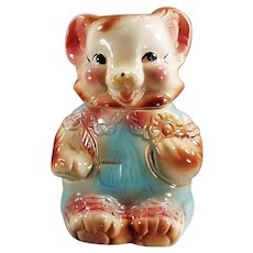 Vintage American Bisque Cookie Jar - Cute Baby Bear in Rompers