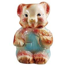 Vintage American Bisque Cookie Jar - Cute Baby Bear in Rompers