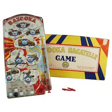 Vintage Marx Toy - Bazooka Bagatelle Military Marble Game with Original Box