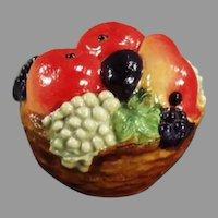 Vintage Celluloid Tape Measure - Pretty Little Fruit Basket with Vivid Colors