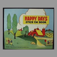 Child's Unused Vintage Platt & Munk Happy Days Stickers Book - 1940's