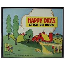 Child's Unused Vintage Platt & Munk Happy Days Stickers Book - 1940's