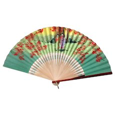 Vintage Occupied Japan Japanese Bamboo and Paper Folding Fan with Geishas – O. J.