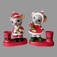 Vintage Christmas Mice Candle Holders - Mr & Mrs. Santa Mouse - Napcoware