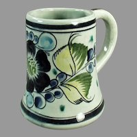 Large Vintage Mexican Pottery Mug - Marked Tonala - Blue & Green Floral Design