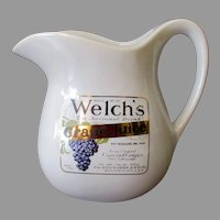 Vintage McCoy Pottery Pitcher - Welch's Grape Juice Advertising Stoneware