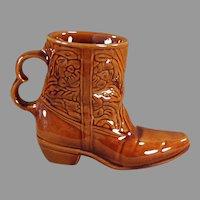 Vintage Frankoma Pottery - Glossy Brown Glaze Boot Mug Coffee Cup