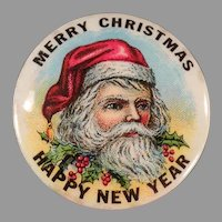 Vintage Santa Claus Christmas Celluloid Pinback with Ribbons - Pin Back on Original Card