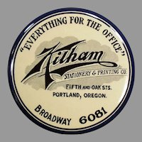 Large Vintage Celluloid Advertising Paperweight Mirror - Kilham's of Portland Oregon