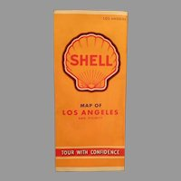 Vintage 1940's Shell Gasoline Advertising Road Map of Los Angeles California