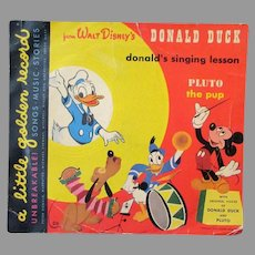 Child's Vintage Golden Record - Disney's Singing Donald Duck & Pluto the Pup