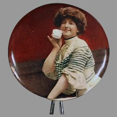 Vintage Celluloid, Hand Held Mirror with Victorian Woman Sipping Tea