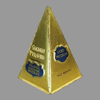 Unusual Vintage Golden Pyramid Steel Phonograph Needle Tin