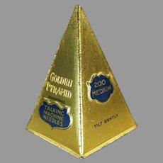 Unusual Vintage Golden Pyramid Steel Phonograph Needle Tin